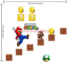 choose size super mario bros decal removable wall sticker vinyl choose size super mario bros decal removable wall