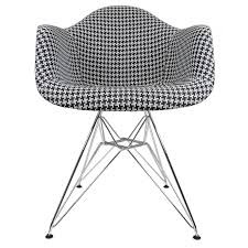 Houndstooth Home Decor by Houndstooth Pattern Woven Fabric Upholstered White Eames Style