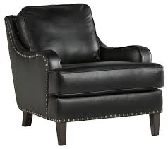 Faux Leather Accent Chair Black Faux Leather Accent Chair With Nailhead Trim By Signature