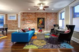 Blue Sofa Living Room Design by 100 Brick Wall Living Rooms That Inspire Your Design Creativity