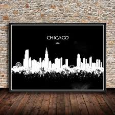 living room cafe chicago hot sale modern watercolor abstract city painting chicago usa