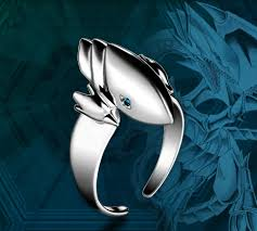 yu gi oh zexal blue eyes white dragon finger ring in mascot from