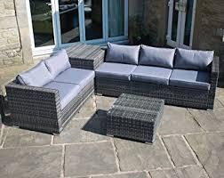 rattan outdoor garden furniture corner sofa with storage box in grey