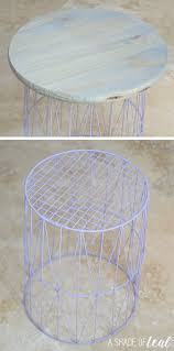 Making A Small End Table by How To U2026 Wire Trash Can Turned Side Table