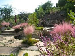 ornamental grass border landscape mediterranean with pool