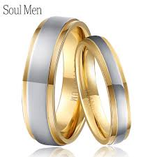 titanium wedding ring sets 1 pair gold silver color titanium wedding rings set for