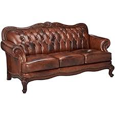 Victorian Loveseats Amazon Com Coaster Loveseat In Brown Tri Tone Leather Kitchen