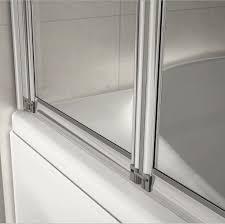4 fold 1000x1400mm folding shower glass bath screen matt silver