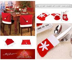 Red Dining Room Chair Covers by Christmas Santa Hat Dining Chair Seat Covers Xmas Party Dinner