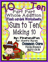 part part whole addition making ten flash cards mats counters