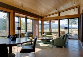 modern cabin interior creek view cabin by balance associates architects