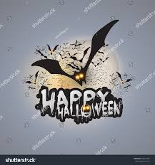 happy halloween card template flying bats stock vector 709513309