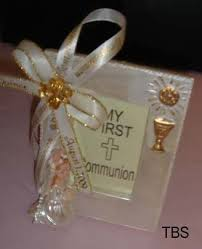 printed ribbons for favors communion frame favor with girl printed ribbon complete favor
