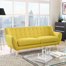 Yellow Leather Sofa Mid Century Sofas Couches U0026 Loveseats Shop The Best Deals For