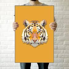 2017 geometric tiger canvas art print painting poster animals
