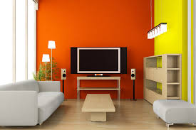 Home Design Stylish Orange And Yellow Painting Color Design With