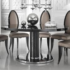 designer leather round black lacquered dining table juliettes