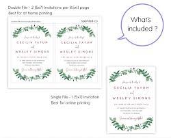 dusty rose greenery wedding invitation template