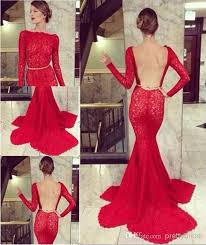 2014 red long sleeve sheer backless lace prom gown dresses
