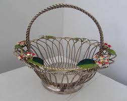vintage flower basket etsy