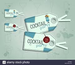 summer cocktail party sticker and label layout template with blue