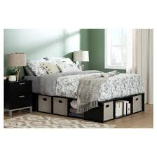 Oak Platform Bed Flexible Platform Bed With Storage And Baskets Full Black Oak