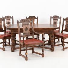 Oak Dining Room Table And Chairs Vintage Tudor Style Oak Dining Table And Six Chairs Ebth