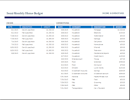semi monthly home budget template word u0026 excel templates