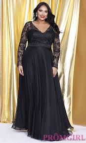 vouge styles black v neck prom dress with long sleeves plus size