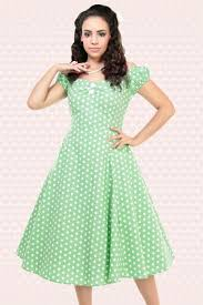 50s dolores polkadot doll dress vintage green and white swing