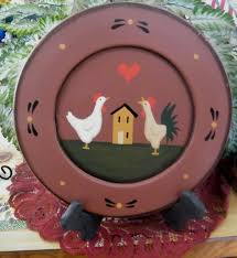 9 rustic country wood decorative plate charger chicken rooster