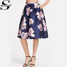 summer skirts aliexpress buy sheinside flower print midi skirt navy box