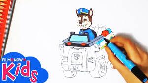 paw patrol impara disegnare chase la sua macchina tutorial