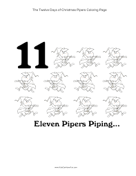 12 days of christmas eleven pipers piping coloring page christmas