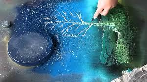 Spray Paint Artist - spray paint art tree and sun asmr youtube