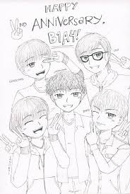 Happy 2nd Anniversary B1a4 Ink Only By Nishimiyahiruka On Coloring Pages Kpop