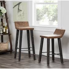 24 Inch Bar Stool With Back Kosas Home Tam Rustic Brown Elm Wood And Iron Low Back 24 Inch