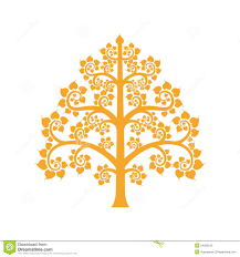 golden bodhi tree symbol with style isolate on background