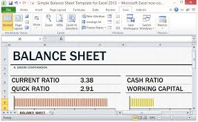 Free Balance Sheet Template Excel Simple Balance Sheet Template For Excel 2013 With Working Capital