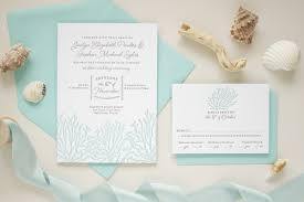 beach wedding invitations in blue letterpress on thick paper