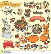 fox ribbon doodle hedgehog hare fox berries mushrooms wood ribbon stock