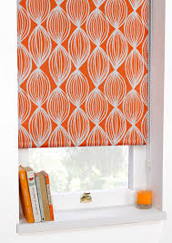 printed blackout roller blinds scuba orange art deco ready made