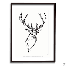 design poster stag deer animal drawing antoine tes ted hu2 design