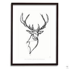 design poster stag deer animal drawing antoine tes ted hu2 design