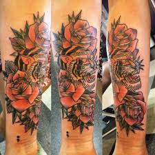dtctattoos tiger and roses scar cover up traditional tiger