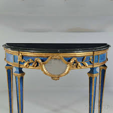 pair of italian neoclassical style painted and marble top demilune