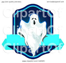 clipart of a halloween ghost label or logo royalty free vector