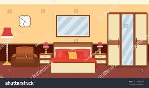 bedroom interior warm colors furniture flat stock vector 520687717
