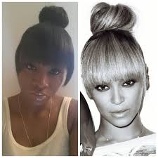 black hairstyles with bun and bangs beyonce inspired high bun with bang tutorial youtube