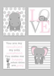 Gray Elephant Nursery Decor by Zoo Nursery Decor Elephant Nursery Zoo Baby Room Hippo Nursery